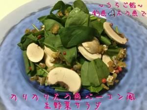 釣魚太刀魚で🎣カリカリ太刀魚ベーコン風生野菜サラダ