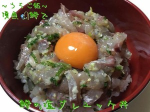 頂魚鰺で🎣鰺の塩ダレユッケ丼